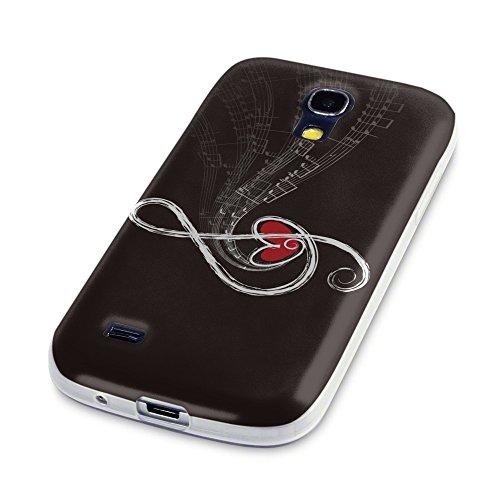 Musik 015, Musik-Note, Das Kristallklare Ultradünn Gel Crystal Silikon Handyhülle Schutzhülle Handyschale mit Farbig Design für Samsung Galaxy S4 Mini
