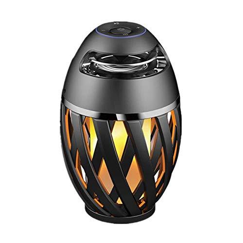 (ZJH Portable Wireless Bluetooth Speaker, Led Flame Lights Column Subwoofer Speaker, for Home Outdoors Travel)