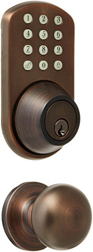 MiLocks TFK-02OB Digital Deadbolt Door Lock and Passage Lever Handle Combo with Keyless Entry via Keypad Code for Exterior Doors, Oil Rubbed Bronze MiLocks