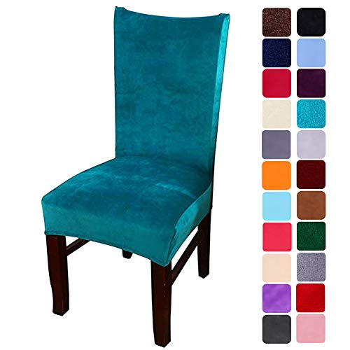 smiry Velvet Stretch Dining Room Chair Covers Soft Removable Dining Chair Slipcovers Set of 4, Peacock Green (Chairs Slipcovers Armless)