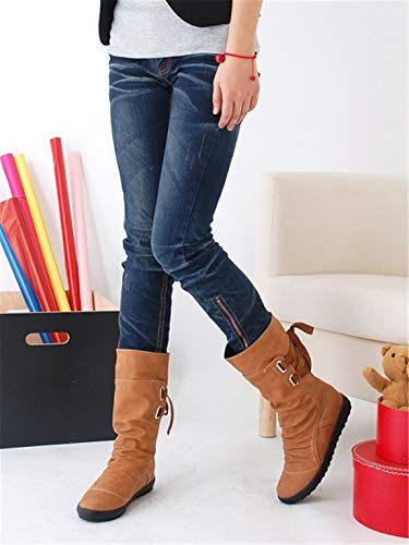 Sandalette-DEDE Europeos y Americanos de Gran tamaño, Zapatos de Mujer, Zapatos de Mujer, Zapatos de Hebilla de cinturón, Medio Tubo Botas, Flat - Bottomed Martin Botas. yellow