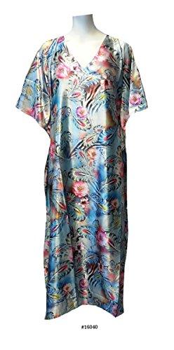 (15020) Damen Turquoise with Floral Print Silky Satin Long Caftan/Kaftan. Size Fit UK 10-32