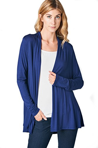 ReneeC. Women's Extra Soft Natural Bamboo Open Front Cardigan - Made in USA (Medium, Navy) (Best Brand For Winter Jackets In Usa)