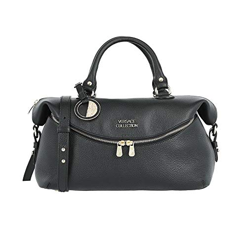 Versace Collection Pebbled Leather Gold Hardware Top Handle Satchel Handbag Black BHFO ()