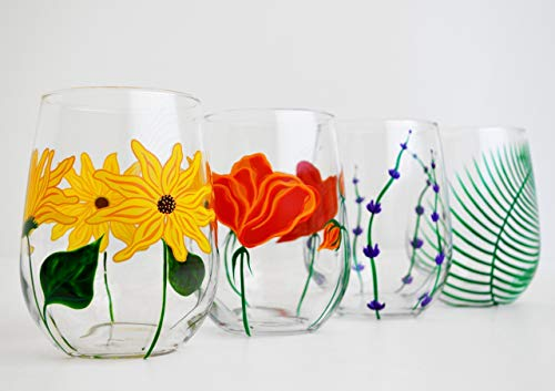 Hand-Painted Stemless Wine Glasses - Set of 4 Glasses - Poppy, Sunflower, Lavender, Fern Glassware