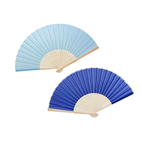 - Agordo 2 Pieces Set Chinese Retro Silk Folded Bamboo Fan Wedding Dancing Party Prom