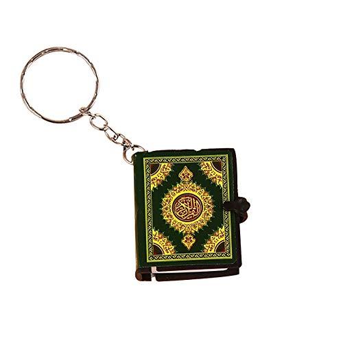 Aland Keychain,Unisex Mini Quran Arabic Pendant Keychain Bag Car Hanging Key Ring Birthday Gift Green