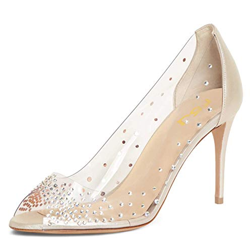FSJ Women Studded Peep Toe Transparent Pumps High Heels Slip On Clear PVC Dress Shoes Size 9.5 -