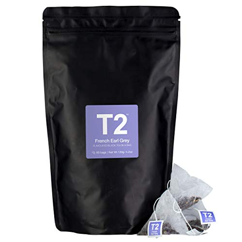 - T2 Tea French Earl Grey Black Tea Bags in Foil Refill Bag, 60-count