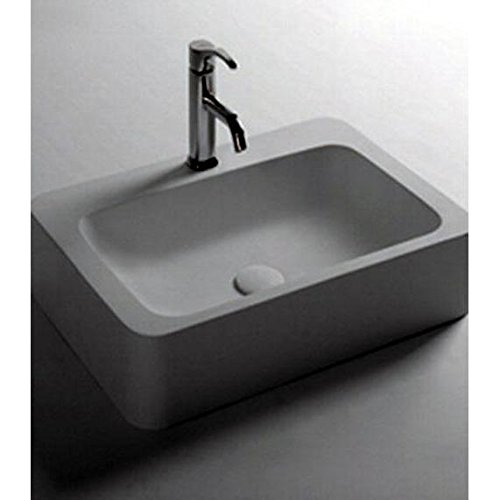 ID Mood Rectangular Solid Surface Vessel Sink Bowl Above Counter Sink Lavatory