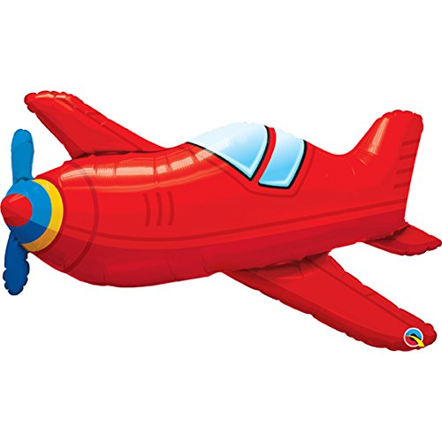 Qualatex 36 Inch Supershape Foil Balloon - Red Vintage Airplane Vintage Foil