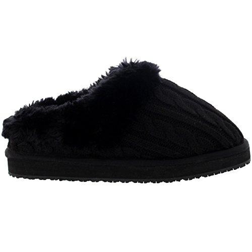 Mujer De Punto Cardy Clásico Forrada De Piel Ponerse Casa Pantuflas Negro