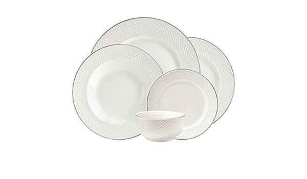 Godinger 20 piezas lattucina Juego de vajilla de porcelana), color blanco con borde plateado, servicio para 4: Amazon.es: Hogar
