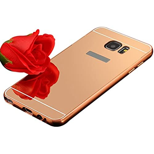 UPLOTER 2016 Aluminum Metal Bumper Case PC Mirror Back Cover For Samsung Galaxy S7 (Rose Gold) Sales