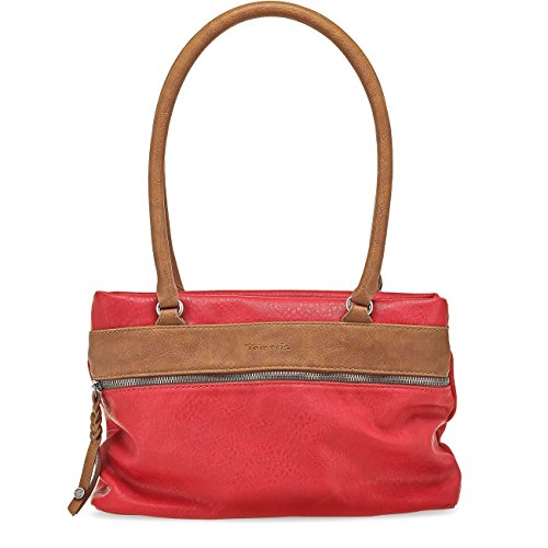 Tamaris KAREN Damen Handtasche, Schultertasche, Bicolour, 3 Farben: nude beige, light blue oder rot Rot Comb