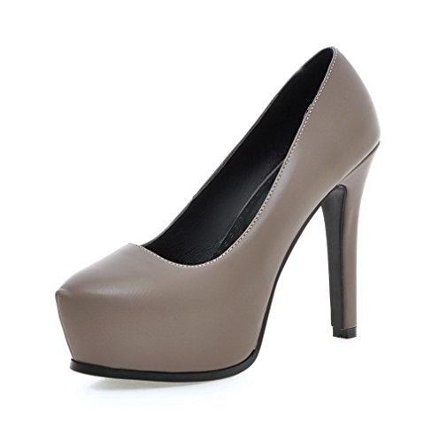 VogueZone009 Damen Rein Weiches Material Hoher Absatz Ziehen auf Rund Zehe Pumps Schuhe Grau