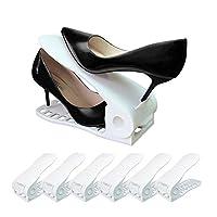 CEISPOB Shoe Organizer Space Saver, Adjustable Shoe Slots Organizer, Shoe Holders for Sandals Heels Casual Shoes Sneakers, 6 Pieces Set (White)