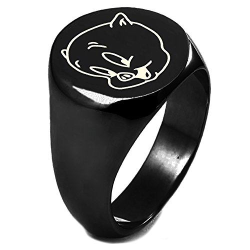 Black IP Plated Sterling Silver Looney Tunes Porky Pig Engraved Round Flat Top Polished Ring, Size 11
