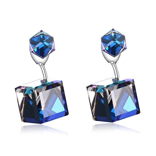Change Color Earrring PLATO H Immortal Love Drop Dangle Earrings with Swarovski Crystal, Heart Of Ocean Blue Crystal Stud Earring, Woman Girls Jewelry Stud Earring Gifts