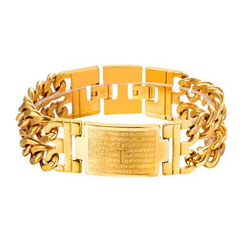 U7 Men Wrist Bracelet 18K Gold Plated English Lord's Prayer Engraved Link Bracelets