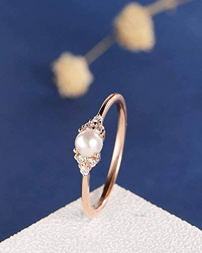 Amazon Com Natural White Pearl Wedding Ring Solid 14k Rose Gold