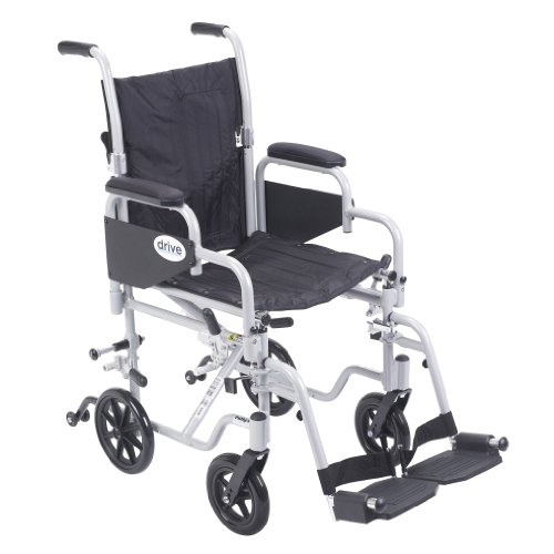 (Drive Medical Poly Fly Light Weight Transport Chair Wheelchair with Swing-Away Footrest, Silver,)