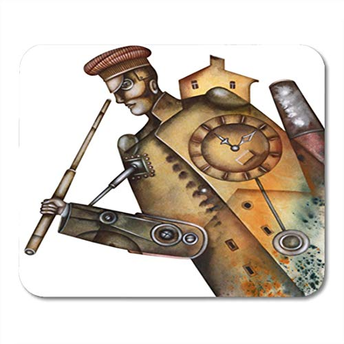 Gaming Mouse Pad Adult Portrait of Steampunk Man Costume Culture 7.18.7 Inches Decor Office Nonslip Rubber Backing Mousepad Mouse -