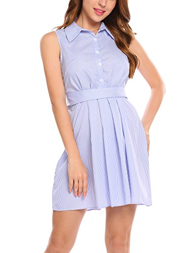 Sleeveless Belted Shirt Dress - 3