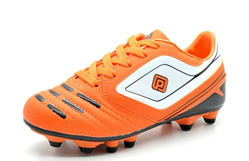 DREAM PAIRS 151028 Boy's Athletic Light Weight Lace Up Outdoor Fashion Sport Cleats Soccer Shoes (Toddler/Little Kid/Big Kid) Orange-Blk-Wht Size 10