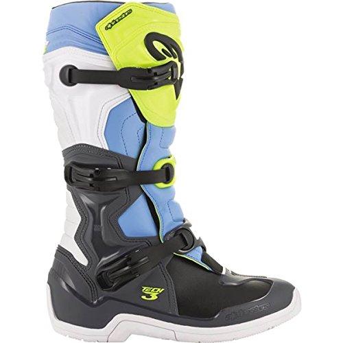 Alpinestars Tech-3 Boots (8) (COOL GREY/FLO YELLOW/CYAN)