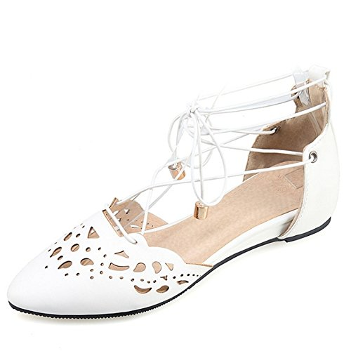 TAOFFEN Women Gladiator Comfort White Toe Sandals Shoes Up Lace Flat Pointed qPYrdnqx