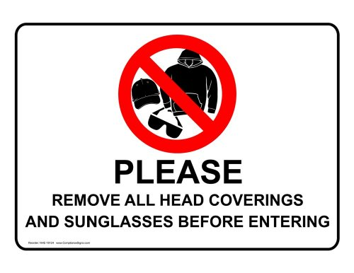 ComplianceSigns Vinyl Label, 5 x 3.5 in. with Security Notice Info, 4-Pack - Info Sunglasses