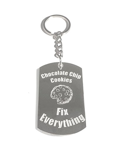Chocolate Chip Cookies Fix Everything - Metal Ring Key Chain Keychain (Cookie Rudolph)