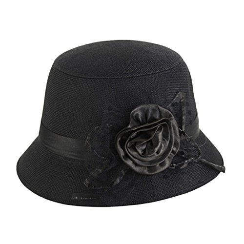 Voberry® Women's Retro Ribbon Flower Bow Solid Color Fedora Bowler Hat Caps (Retro Bucket Hat)