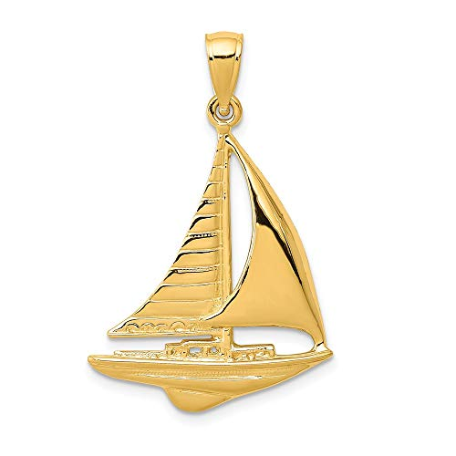 FB Jewels Solid 14K Yellow Gold 2-D Sailboat Pendant