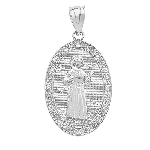925 Sterling Silver Saint Francis Of Assisi CZ Oval Medal Charm Pendant (Medium)
