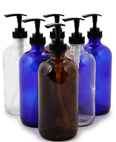 Vivaplex, 6, Large, 16 oz, Empty, Assorted Colors, Glass Bottles with Black Lotion Pumps
