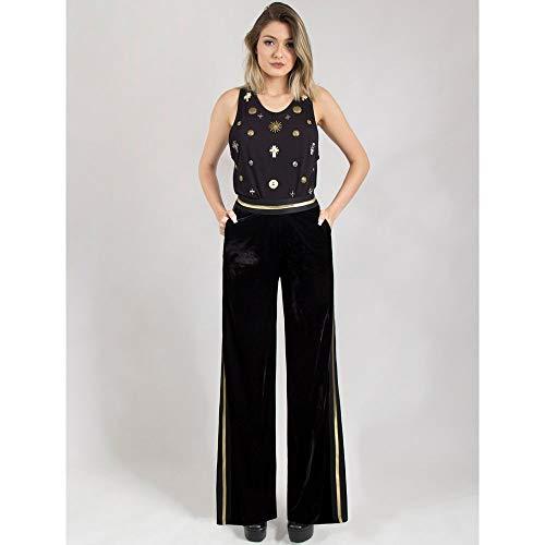 Calça Pantalona De Veludo Com Elástico 42