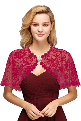 Vintage Lace Tulle Wedding Party Shrug Deco Bolero Scarf Shawls and Wraps,Burgundy from MisShow