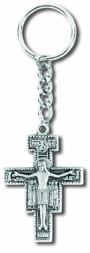 Catholic Silver Saint St Francis of Assisi Tau San Damiano Cross Travel Protection Key Ring by Religious Gifts by Religious Gifts
