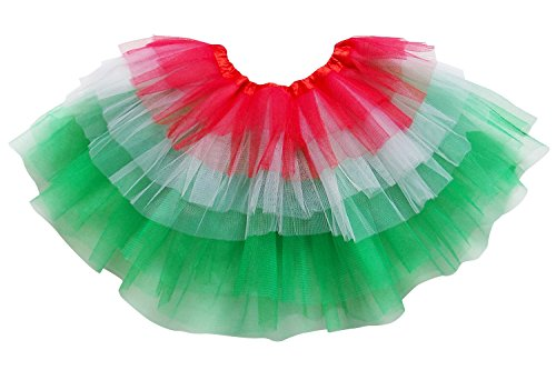 So Sydney Adult Plus Kids Size 6 Layer Fairy Tutu Skirt Halloween Costume Dress (M (Kid Size), Christmas Red (Christmas Red Green)
