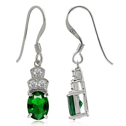 Tsavorite Green & Wite CZ 925 Sterling Silver Dangle Earrings