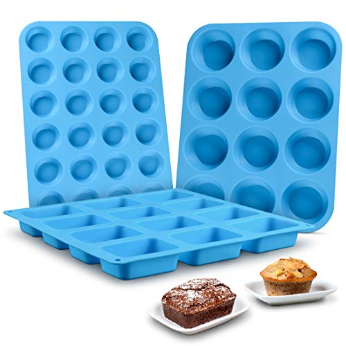 Muffin Pan Silicone Brownie Molds - Cupcake Pan Baking Silicone Molds Set of 3 Food Grade Silicone BPA Free Pinch Test Approved