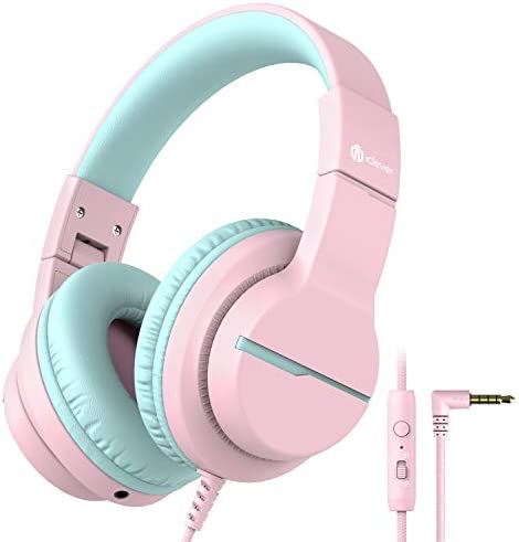 [2021 Upgrade] iClever HS19 Kids Headphones with Microphone for School - Shareport - Volume Limiter 85/94dB, Wired Headphones for Kids Girls Boys for Online Learning/iPad/Kids Tablets/Airplane, Pink