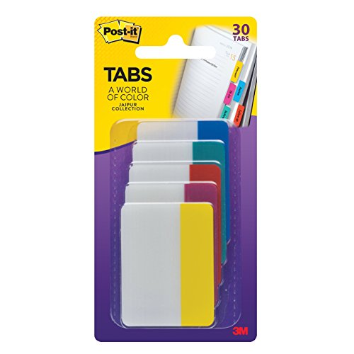 Post-it Tabs, 2-Inch Solid, Jaipur Collection, 6-Tabs/Color, 5-Colors, 30-Tabs/Pack