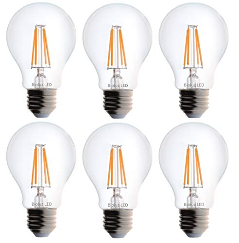- Bioluz LED Vintage 40 Watt Light Bulb, Edison Style Filament LED, Dimmable A19, Uses 4.5 Watts, Warm White (2700K) Clear Pendent Light Bulb UL Listed (Pack of 6)