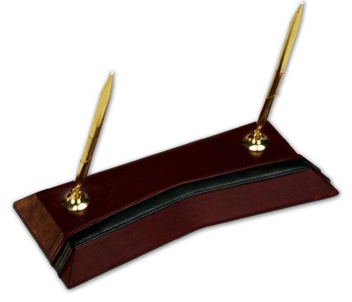 Dacasso Burgundy Leather Double Pen Stand with Gold Trim