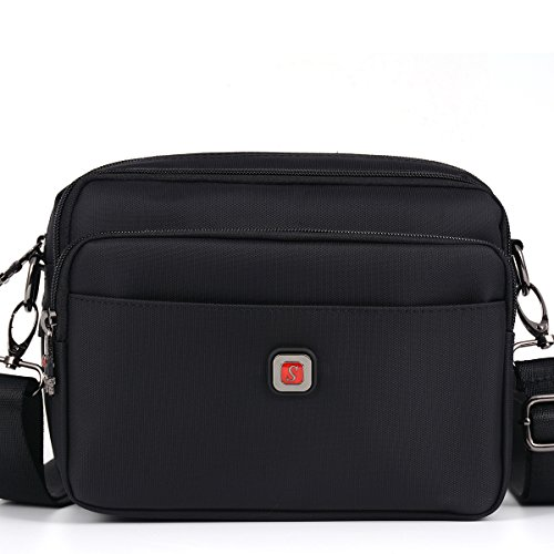 Soperwillton Small Messenger Bag, 1680D Nylon Waterproof Crossbody Bag, With Removable Strap, Black