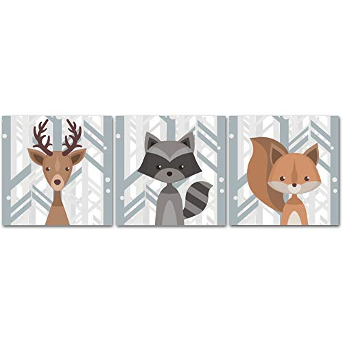 Woodland Creatures Nursery Decor CANVAS Wall Art - Deer, Raccoon, Squirrel Set of 3