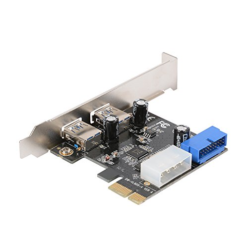 -E to USB 3.0 Expansion Card with Interface USB 3.0 Dual Ports 20-pin Front Connector for Windows XP/Vista / 7/8 / 10 AC328 ()
